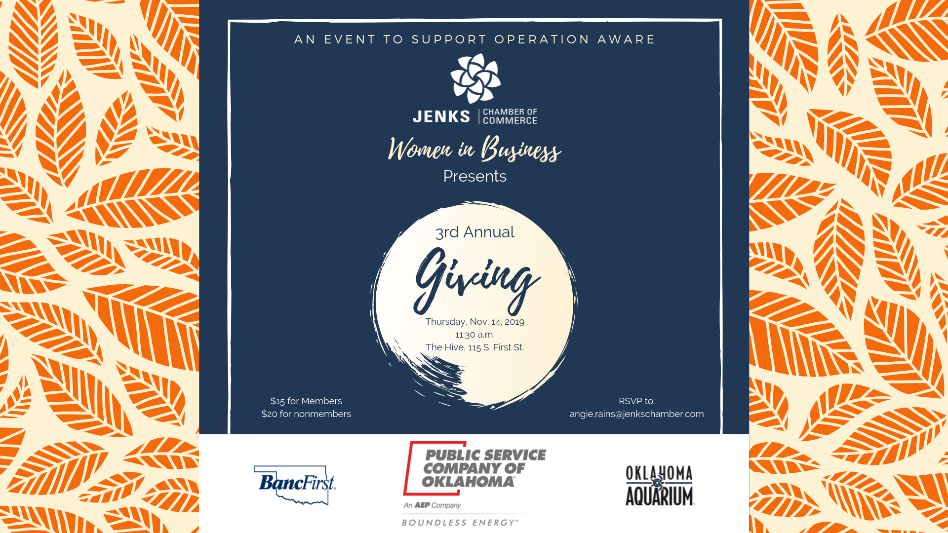 Event logo for the Women in Business Giving event Nov. 14