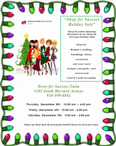 Graphic for a Dress For Success Holiday sale.