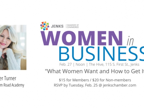 A graphic for the Feb 27 Women in Business luncheon.
