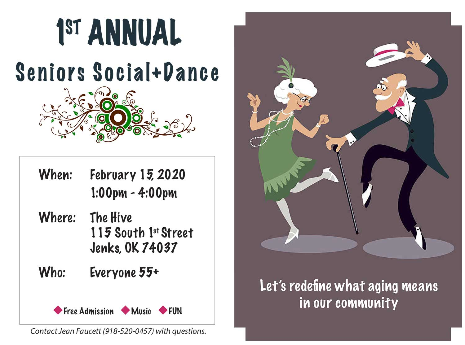 A graphic for the Jenks Senior Social-Dance.