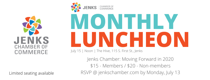 A graphic for the July Monthly Luncheon, 2020.