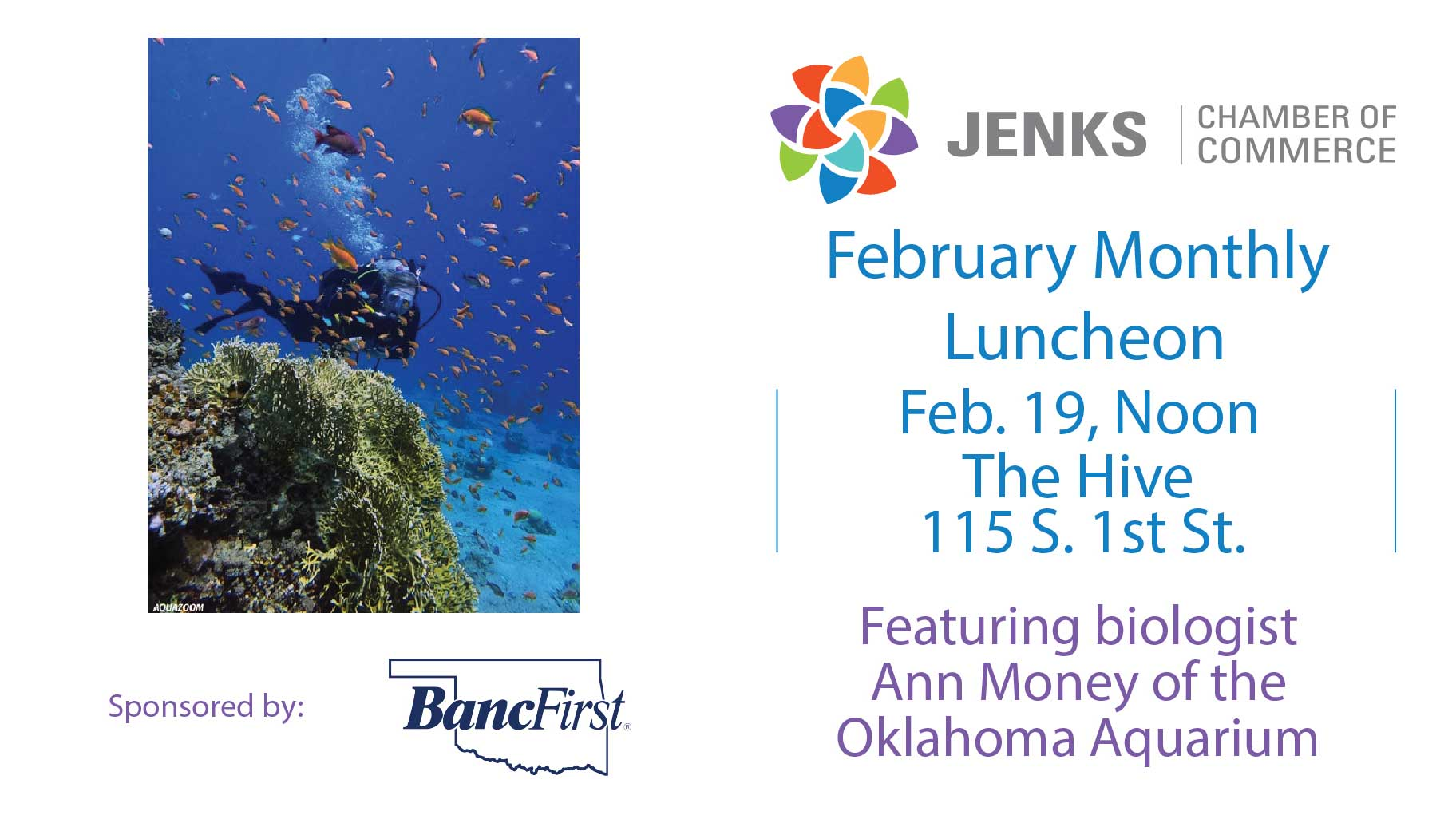 A graphic for the Feb. 19 Monthly Luncheon, featuring Ann Money