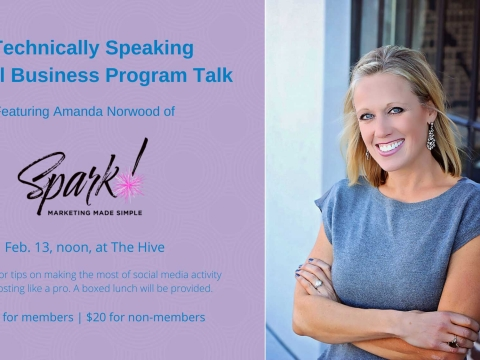 Graphic for upcoming Technically Speaking event, featuring Amanda Norwood.