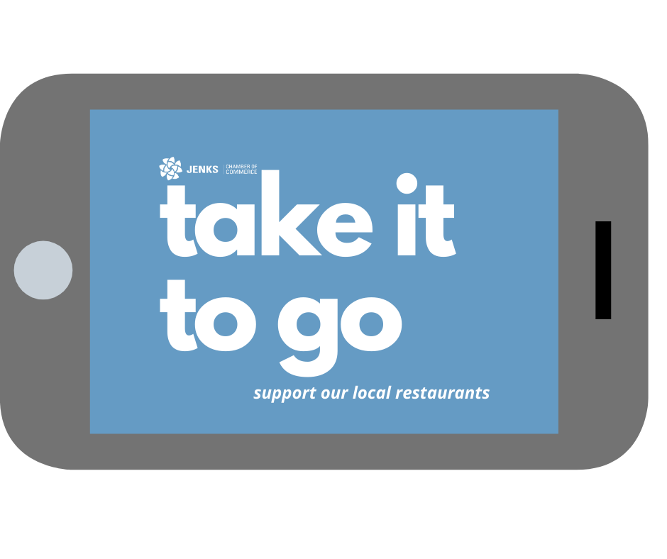 A graphic for the Take It To Go initiative, for Jenks-area local take out food.