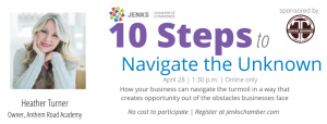 """A graphic for Heather Turner's """"10 Steps to Navigate the Unknown"""""""