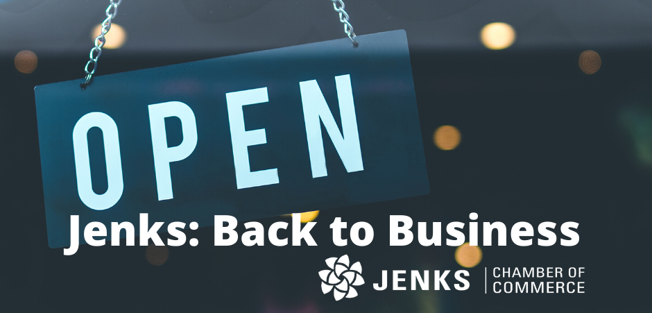 A graphic for promoting Jenks Chamber's back to business resources.