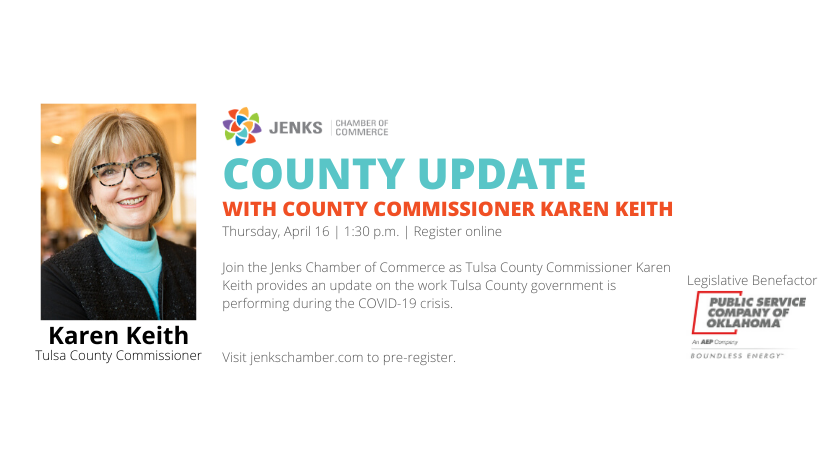 A graphic for the Tulsa county updaye with County Commissioner Karen Keith.