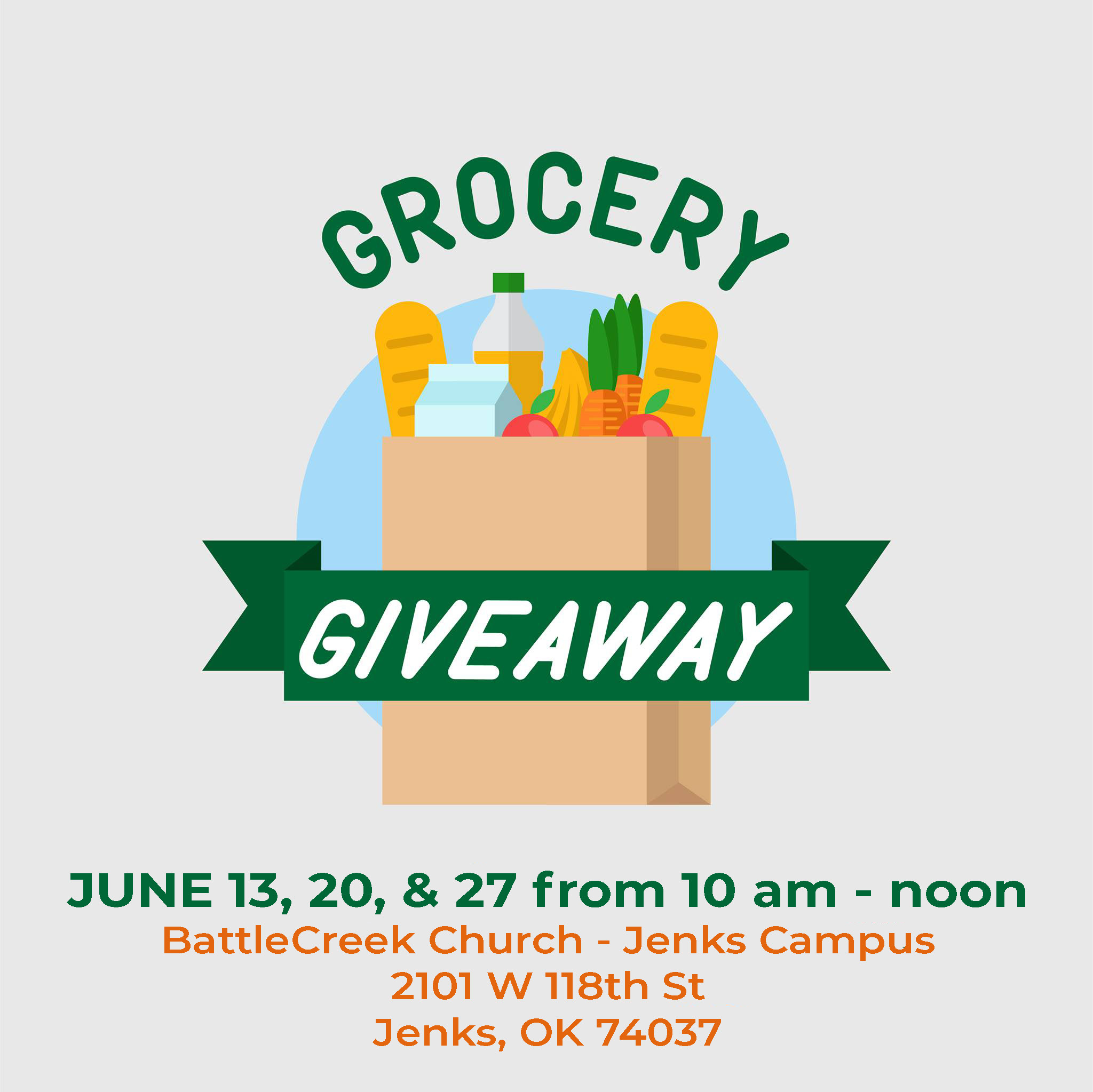 A graphic for the BattleCreek Church Grocery Giveaway.