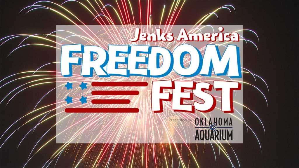 A graphic for Freedom Fest 2020. The event is sponsored by the Oklahoma Aquarium.