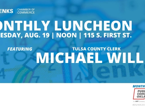 A graphic for the August Monthly Luncheon, featuring Michael Willis.