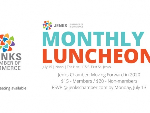 A graphic for the 2020 July Monthly Luncheon.