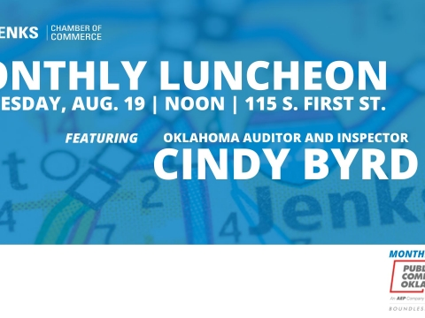 A graphic for the August 2020 Monthly Luncheon.