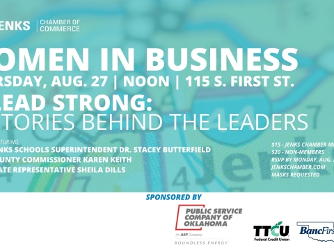A graphic for the August Women In Business Luncheon.