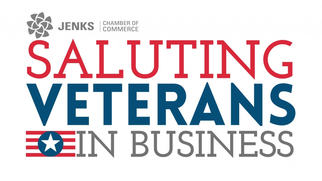 A graphic for the Jenks Chamber's Saluting Veterans in Business Programs