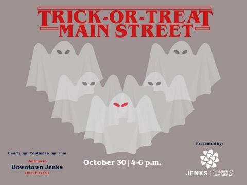 A graphic for Trick-or_treat on Main Street Jenks.