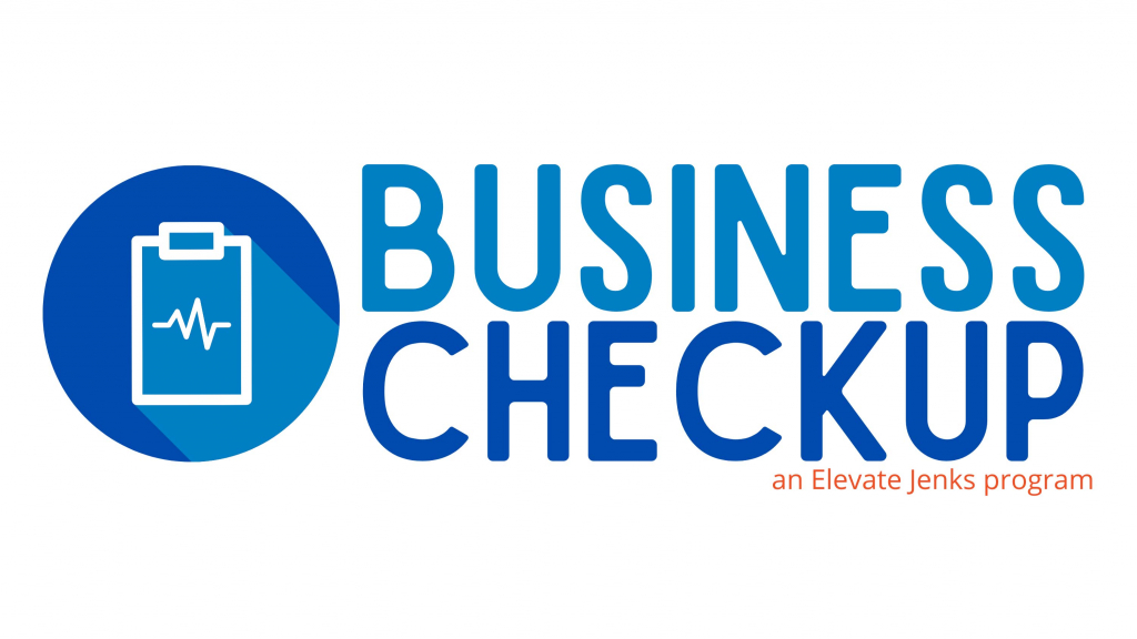 A logo for the Elevate Jenks Business Checkup program