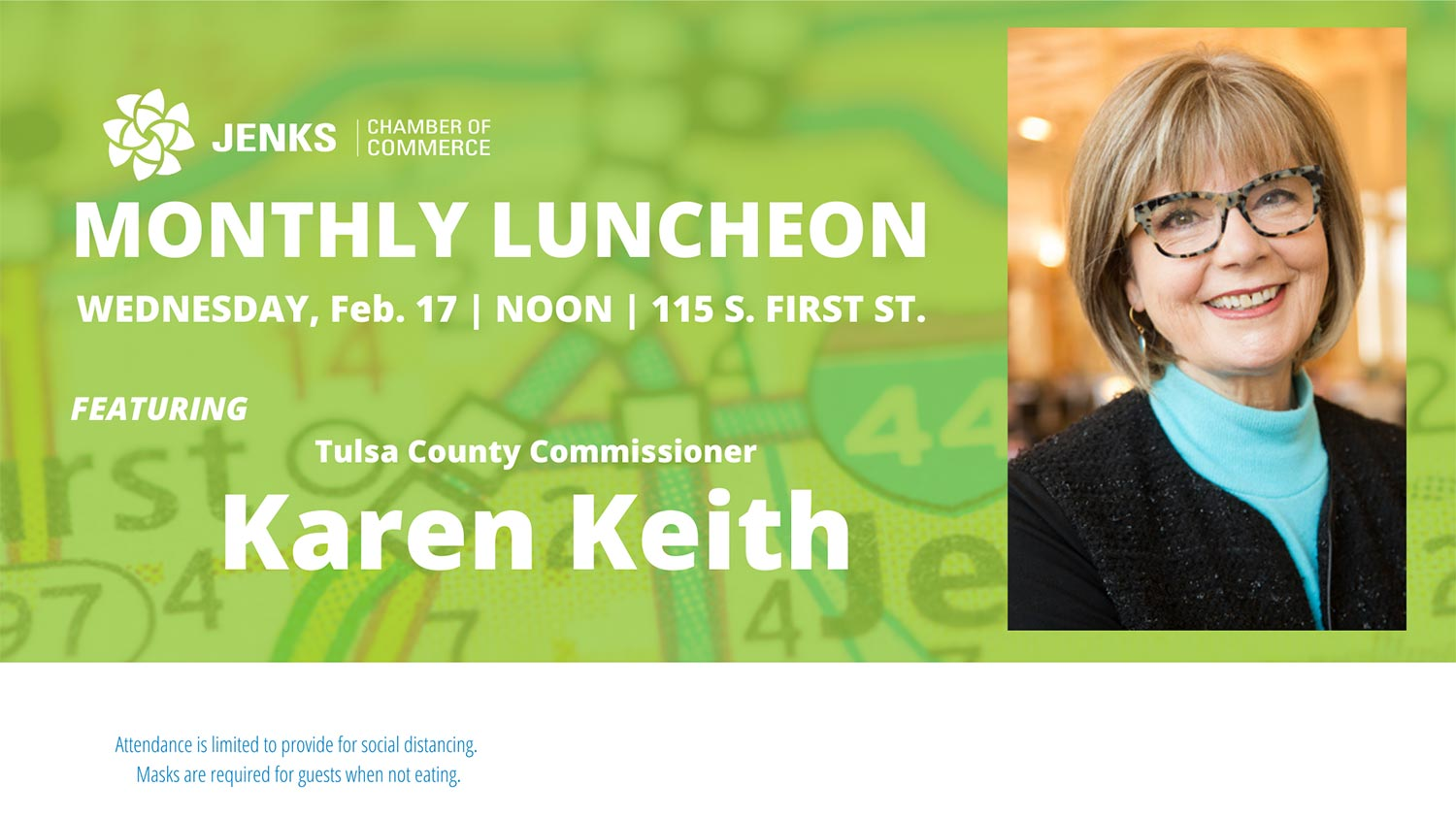 County Commissioner Karen Keith to speak at Monthly Luncheon.
