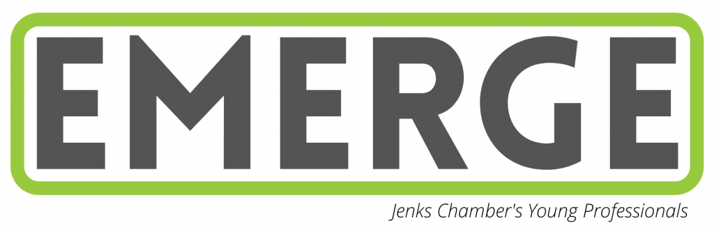 a logo for Jenks' EMERGE young professional program