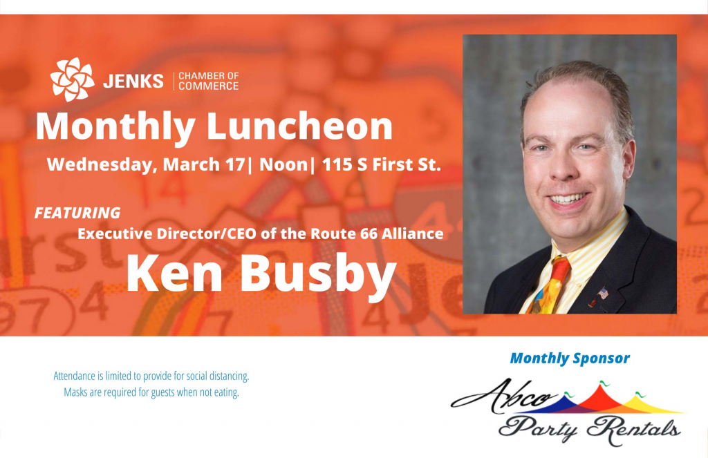 A logo for the March Monthly Luncheon featuring Ken Busby.