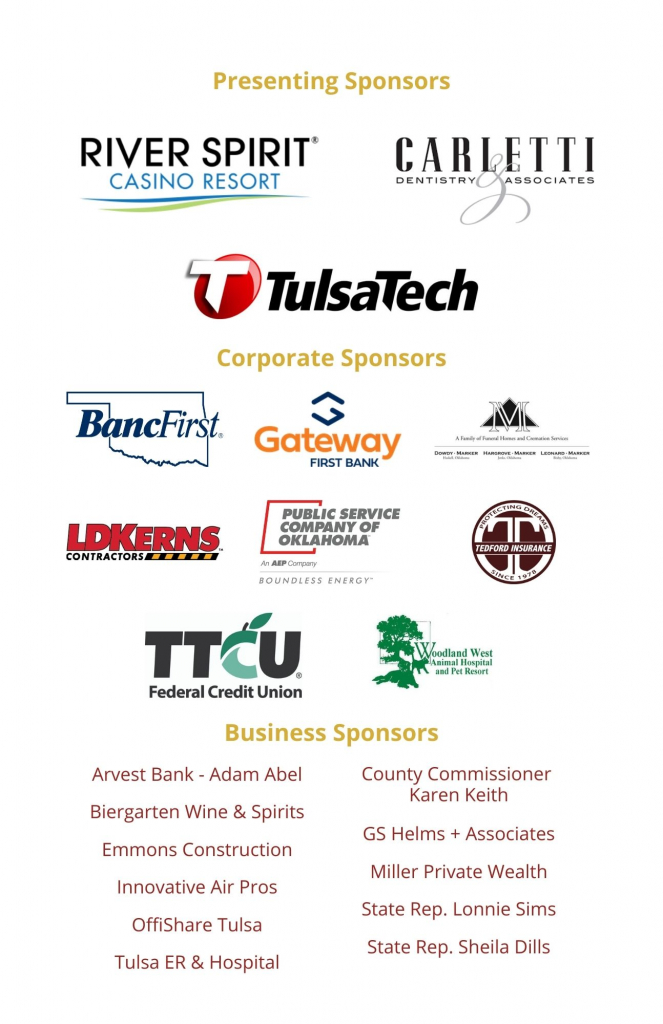 Sponsors for the Jenks Chamber of Commerce's 2021 Inaugural Banquet.