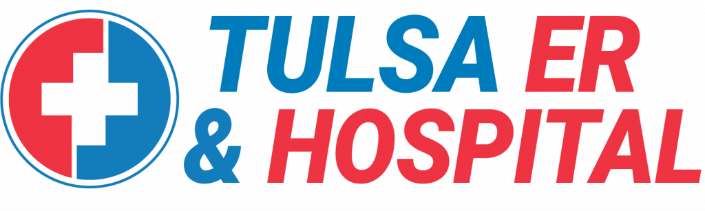 A logo for Tulsa Hills ER & Hospital, located at Tulsa Hills.