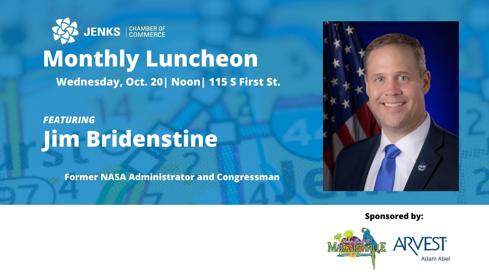A graphic for the October Monthly LUncheon, featuring Jim Bridenstine