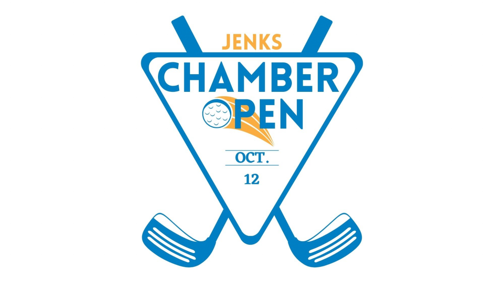 A graphic for the 2021 Jenks chamber Open Golf tournament.