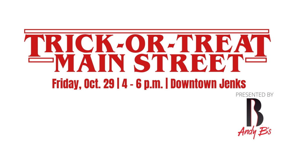 A graphic for Trick-or-Treat on Main Street in Jenks, OK.
